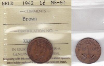 1942 ICCS MS60 1 cent Brown Newfoundland NFLD NF one penny