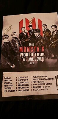 Monsta x signed We Are Here Concert poster signed by all members 2019 *rare*
