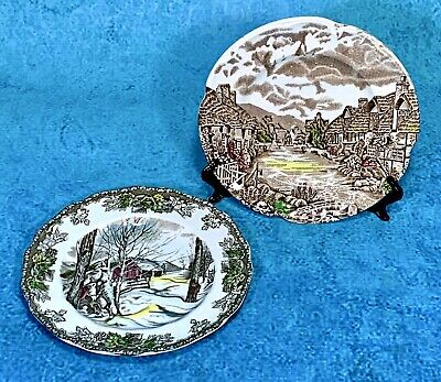 "Lot 2) Johnson Brothers 6.25"" Plates Sugar Maples & Olde English Countryside MNT"