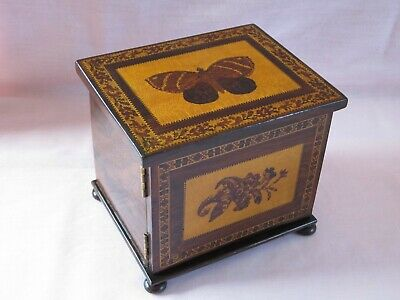 Antique Victorian Tunbridge Ware Table Cabinet with Butterfly Inlay c.1860