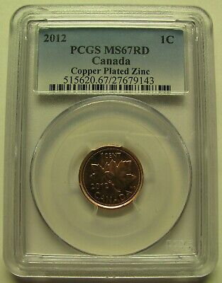 2012 PCGS MS67 1 cent RD Copper Plated Zinc (Red Non Magnetic) Canada one penny
