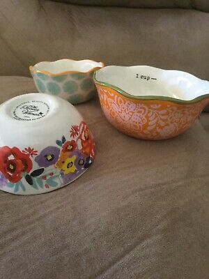 The Pioneer Woman 3 Piece Stoneware Nesting Measuring Bowls Cups Vintage Floral