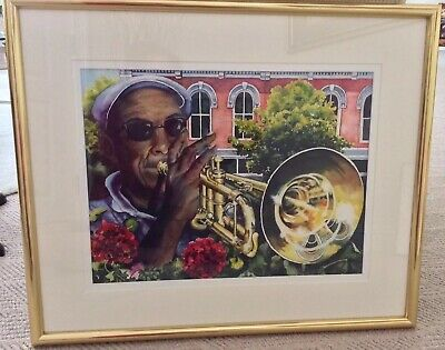 Original Watercolor,  Framed, Signed,, New Orleans Music Man, Colorful