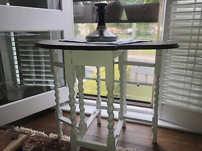 Rustic Oak Barley Twist Shabby Chic Drop Leaf Small Kitchen Dining / Side Table