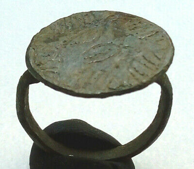 Byzantine Protection Shield Decorated Bronze Ring