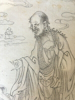 Extremely Detailed Antique Chinese Painting Buddhist Qing Arhats En Grisaille #6