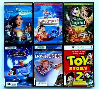 Pocahontas I + II/Lilo Stitch/Rescuers/Jungle Book/Toy Story 2 (DVD) Ex-Library