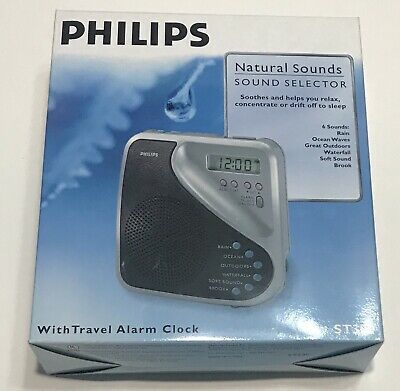 PHILIPS Natural Sounds Sleep White Noise Machine with Digital Alarm Clock Travel