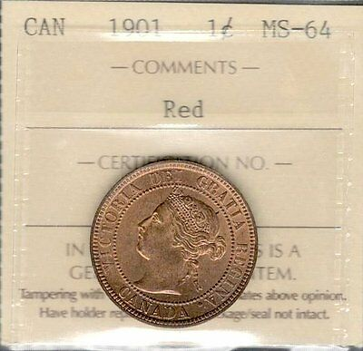 1901 Large Cent ICCS Certified MS-64 RED aGEM BEAUTY Graded LAST Victoria Penny