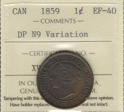 1859 DP N9 VARIATION Large Cent ICCS EF-40 * RARE Looks TP Victoria Canada Penny
