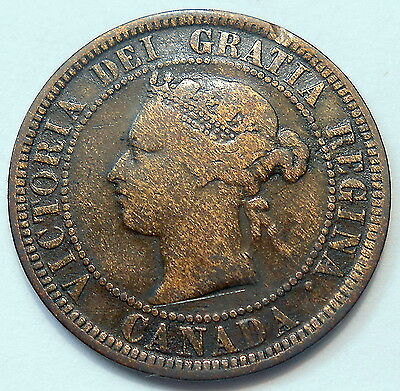 1886 OBVERSE #1 Large Cent VG ** SCARCE Variety KEY Date Victoria Canada Penny