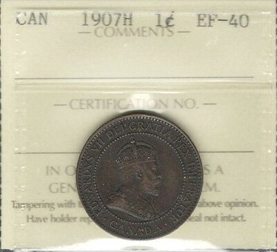1907H Large Cent ICCS Graded EF-40 ** Beautiful RARE Edward VII KEY Canada Penny