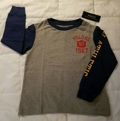 POLO Ralph Lauren Boys Size 2T Crew Neck Long Sleeved Shirt Gray & Blue $29.50