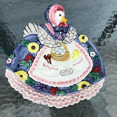 Fitz and Floyd Mother Goose Duck Goose Apron Plate Canape plate 1995