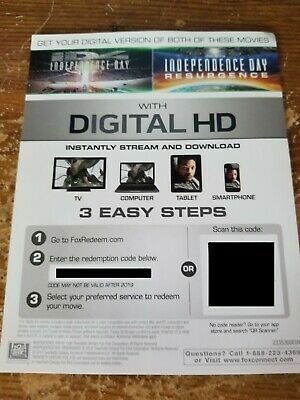 INDEPENDENCE DAY +  INDEPENDENCE DAY RESURGENCE (2 films) 4K ULTRA HD DIGITAL