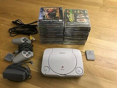 Sony Playstation 1 Ps1 Console & 21 Game Lot Final Fantasy Driver W/ Memory Card