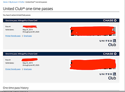 2 Passes for United Club One Time Pass EXP June2020 E Delivery Only