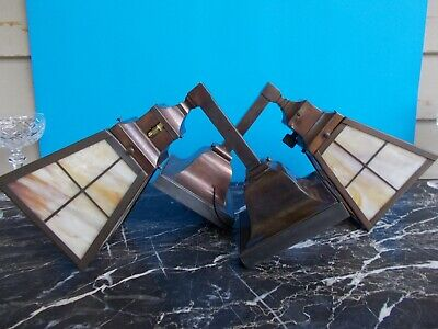 Antique Pair Bradley & Hubbard Copper And Slag Glass Arts & Crafts Sconces C1915