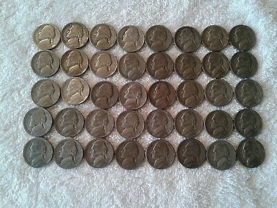 Roll of 40 Circulated Nickels 1942-45 Assorted 35/% Silver Jefferson War