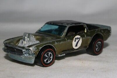 Hot Wheels Redline Spoilers Boss Hoss Mustang, Metallic Olive, Black Roof, Lot C