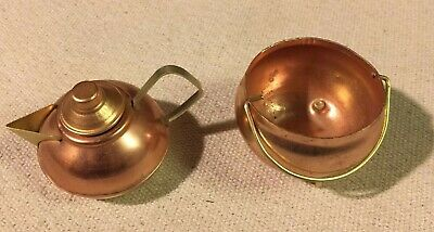 Lot Vintage Miniature Child's Toys Doll Copper Kettle and Teapot