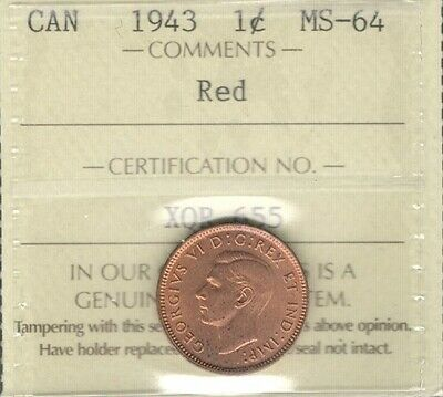 1943 Small Cent ICCS Certified MS-64 RED ** BEAUTIFUL Graded WWII Canada Penny