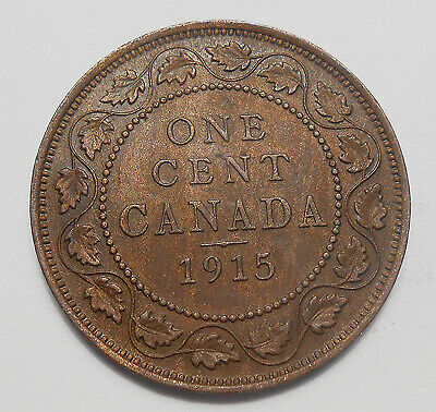 1915 Large Cent AU * Beautiful HIGH Grade BETTER Date King George V Canada Penny