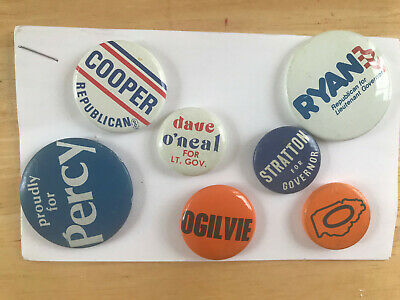 Illinois GOP State Campaign Buttons - Percy, O'Neal, Ogilvie, Stratton, Percy