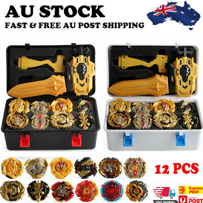 AU 12x Beyblade Gold Burst Set Spinning with Grip Launcher+Portable Box Case Toy
