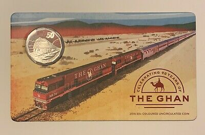 2019 90 years of The Ghan 50c Coloured Uncirculated Coin