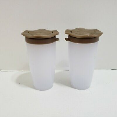 "Tupperware Mini Salt & Pepper Shakers Containers Brown 1 1/2"" Tall"