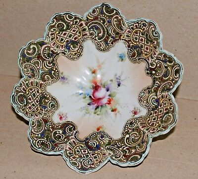 ANTIQUE MORIAGE FOOTED SCALLOPED DISH BOWL with FLOWER DESIGN
