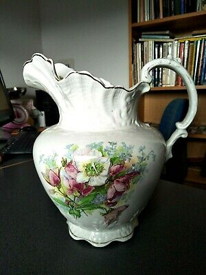 LARGE ANTIQUE VICTORIAN WATER JUG PITCHER POTTERY CIRCA 1880s