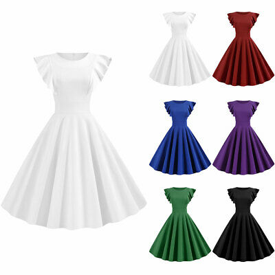 Womens Girl Vintage 1950s Rockabilly Pleated Skater Dress Cocktail Evening Party