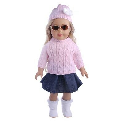 "3x 18"" Girl Doll Clothes Accessory Suit Set Hat Sweater Skirt for 18inch Dolls❤o"