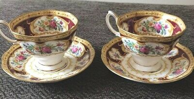 Two Royal Albert Lady Hamilton Avon  cups, saucers