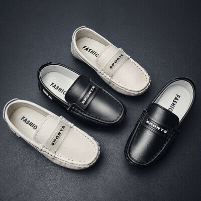 26-37 Kids Boys Girls Flat Loafers Leather Shoes Moccasins Boat Shoes Non-Slip