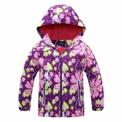 Girls/Kids Hooded Fleece School Lined Jacket Waterproof Raincoat Age 2-12yr New