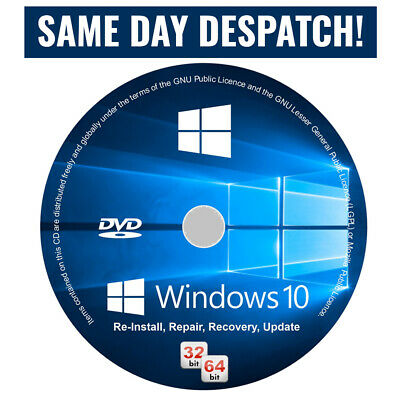 Windows 10 Pro Installation Disc + Genuine Activation License Key 64 Bit DVD