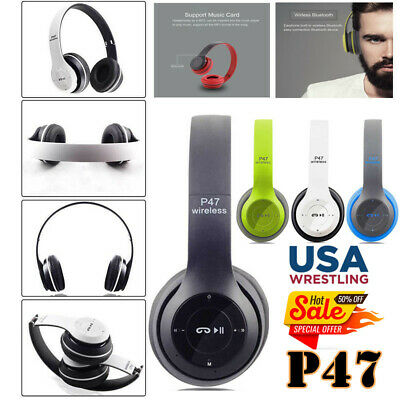 Wireless Headphones Bluetooth Headset Noise Cancelling Over Ear & Microphone USA