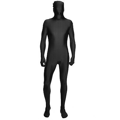 Mens Second Skin Suit Full Body Black Lycra Fancy Dress Costume Outfit Party UK