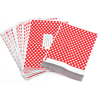 ON SALE Red Polka Dot Printed Post Plastic Mailing Bags Postage Strong Self Seal