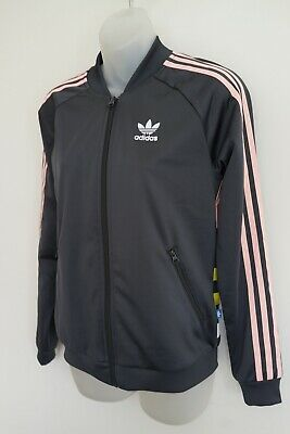 adidas black/pink mesh-lined tracksuit jacket…size womens 8…vgc...