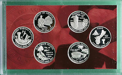 2009 US Mint SILVER Proof Quarter Set DC & US Territories 6 COINS ONLY No Box
