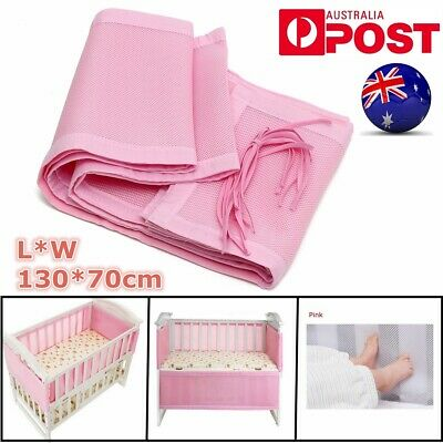 AU Breathing Space Infant Baby Air Pad Cot Bumper Mesh Protect 130*70CM Pink