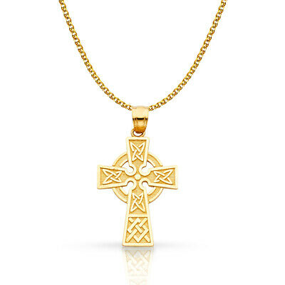 14K Yellow Gold Celtic Cross Pendant with 1.5mm Flat Open Wheat Chain Necklace