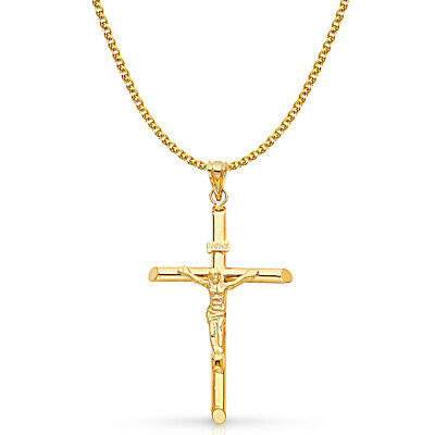 14K Yellow Gold Crucifix Pendant with 2mm Flat Open Wheat Chain Necklace