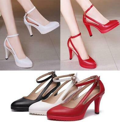 Women High Heel Sandals Ankle Strap Buckle Stilettos Pointed Wedding Party Shoes