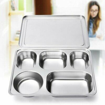 Stainless Steel Lunchbox School Lunch Plate Food Serving Bento Tray &Cover