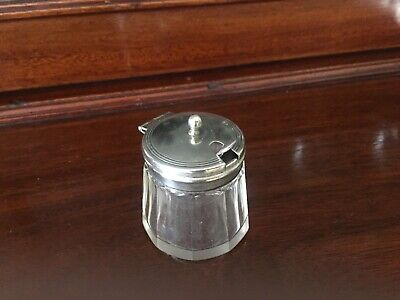 salt or mustard pot with EPNS lid and Mappin & Webb silver plated spoon